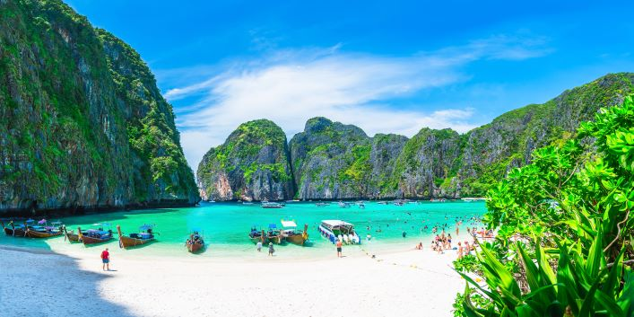 famous landmark beach Maya bay Krabi, Thailand