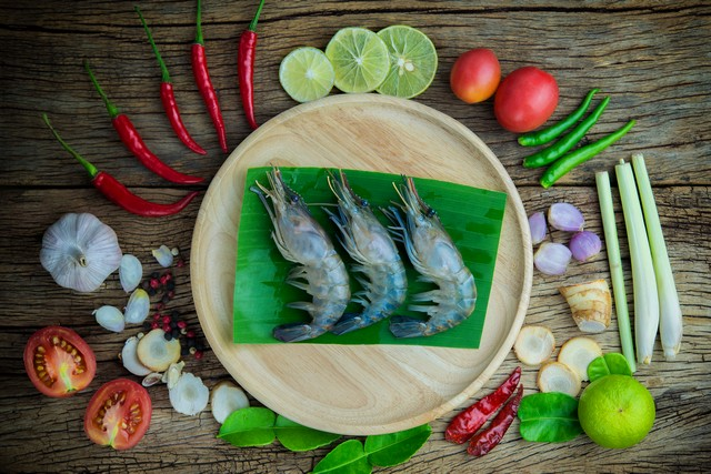 tom yum goong ingredients prepare for cooking