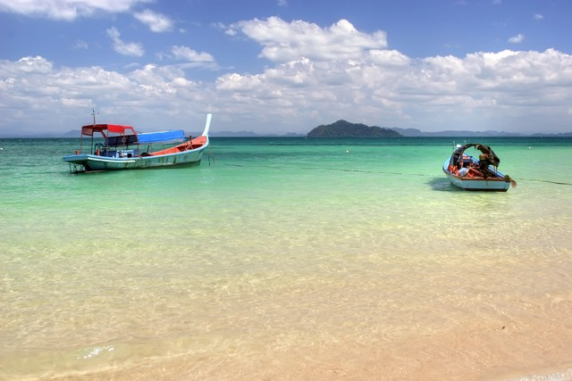 two boats on the colorful andaman sea