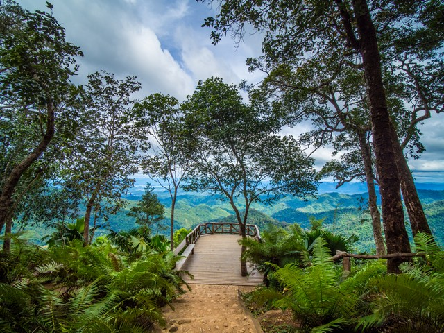 wood terrace in the mountain for viewpoint at Thong Pha Phum National Park ,Thailand