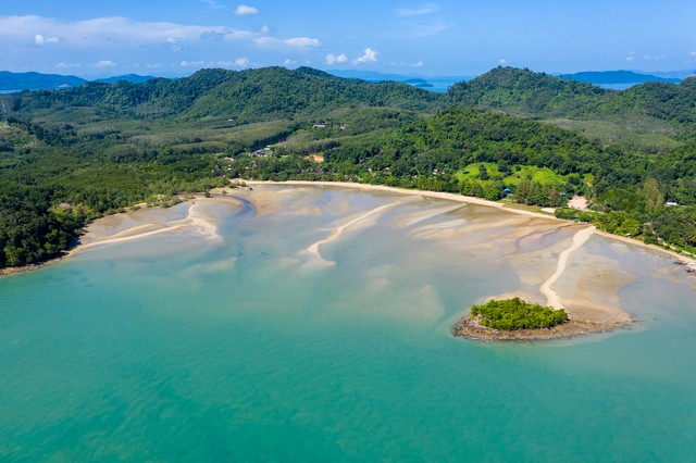 Aerial view of the beautiful, relaxing tropical island of Koh Yao Noi in Thailand