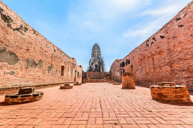 Ancient Temple with blue sky background in ayutthaya thailand
