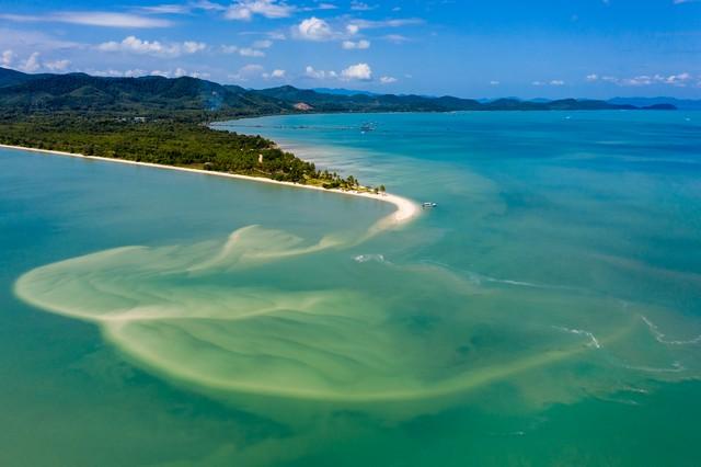 view of a beautiful sandy beach and tropical ocean Laem Haad