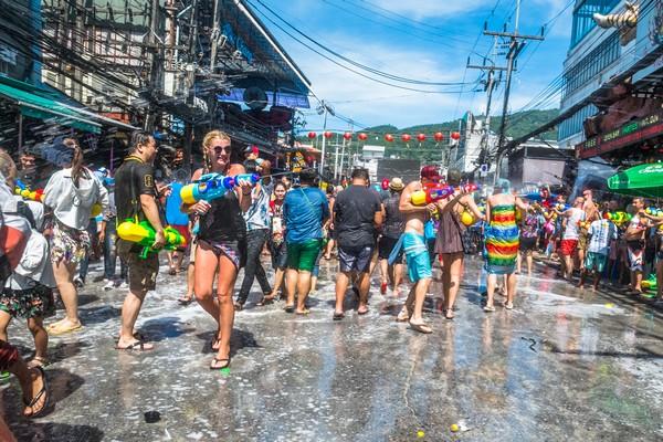 Splashing water in Patong beach Phuket