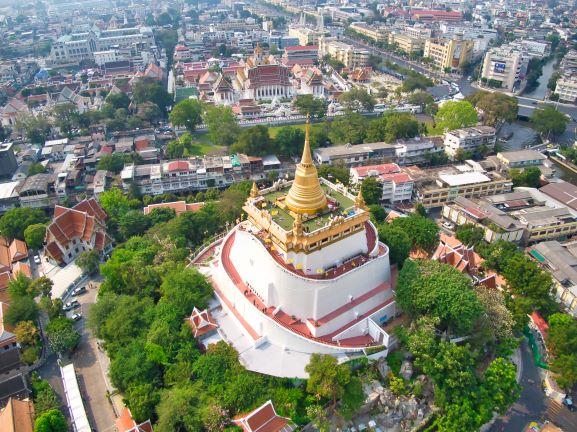 Arial view of Wat Saket Bangkok