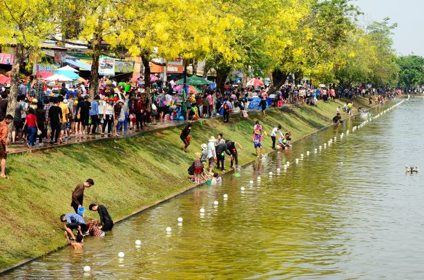 Songkran in Chiang Mai around City moat